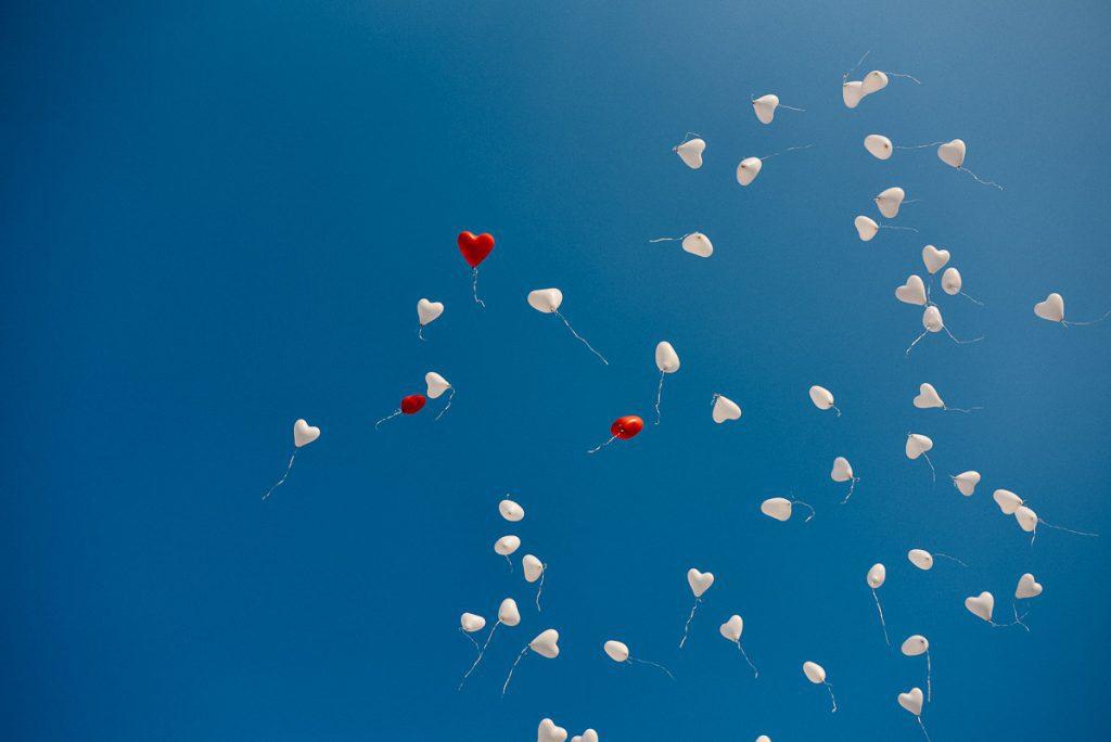 Aufgestiegene Ballons.